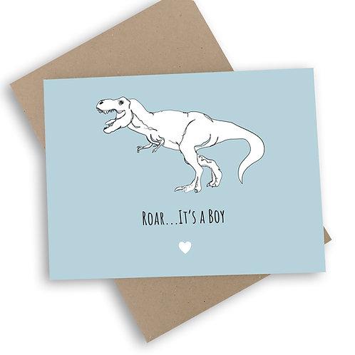 Roar... It's a Boy New Baby Card
