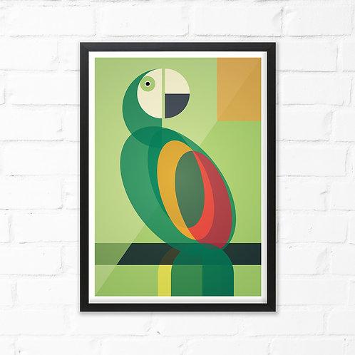 Mid Century Parrot Print