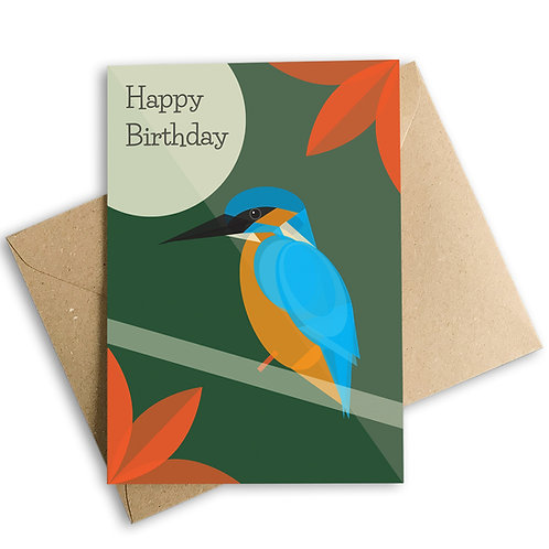 Kingfisher Happy Birthday Card
