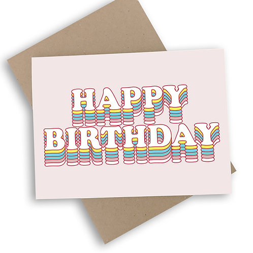 Happy Birthday Pink Layer Cake Card