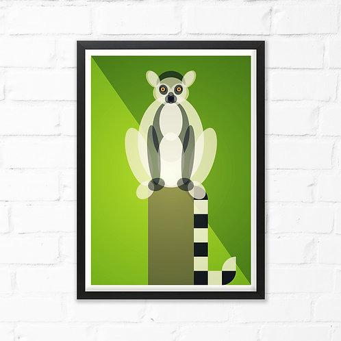 Mid Century Lemur Print