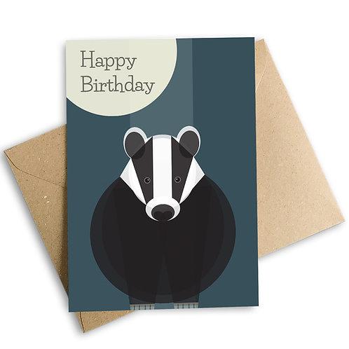 Badger Happy Birthday Card