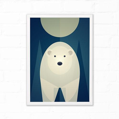 Mid Century Polar Bear Print