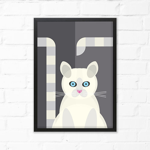 Mid Century White Cat Print
