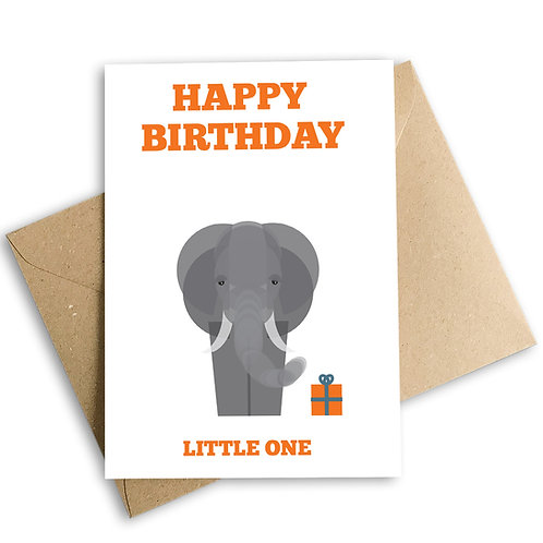 Happy Birthday Little One Elephant Card