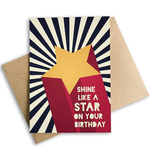 Shine Like A Star On Your Birthday Card
