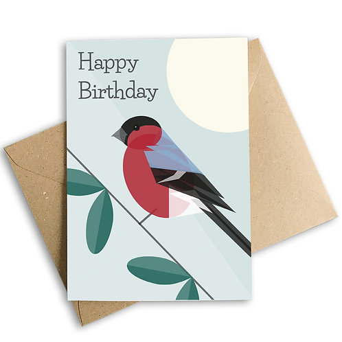 Bullfinch Birthday Card