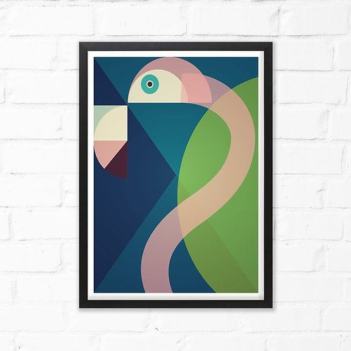 Mid Century Abstract Flamingo Print