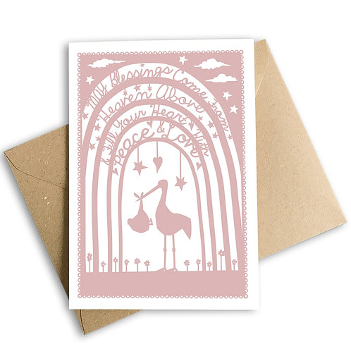 Pink Stork New Baby Card