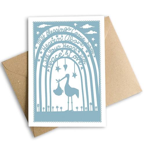 Blue Stork New Baby Card