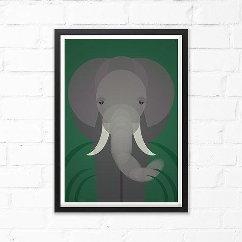 Mid Century Elephant Print