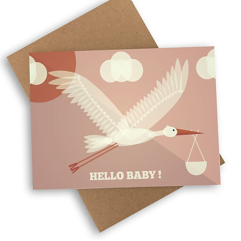 Hello Baby! New Baby Girl Card