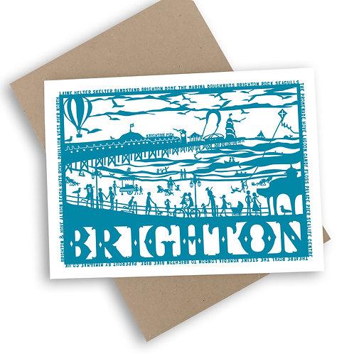 Brighton Papercut Style Greetings Card