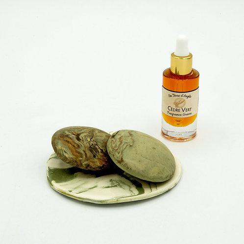 2 Galets Senteur - Coupelle Ronde Verte - Fragrance