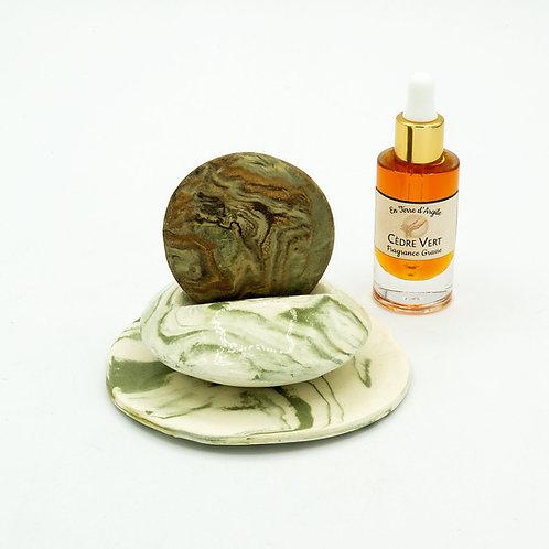 Galet Senteur - Support Vert - Coupelle Ronde Verte - Fragrance