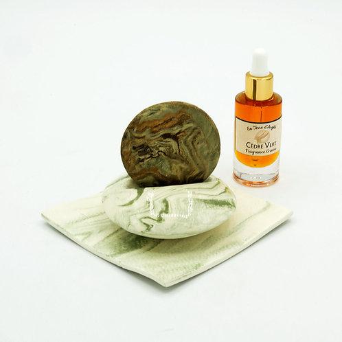 Galet Senteur - Support Vert - Coupelle Carré Verte - Fragrance