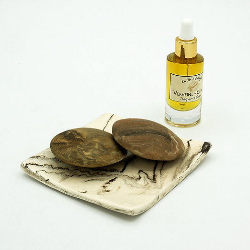 2 Galets Senteur - Coupelle Carré Marron - Fragrance