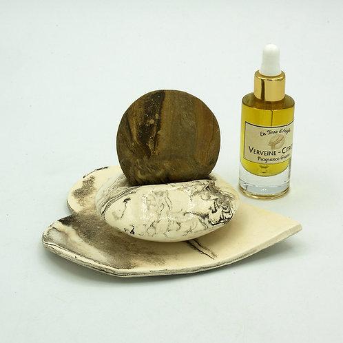 Galet Senteur - Support Marron - Coupelle Cœur Marron - Fragrance