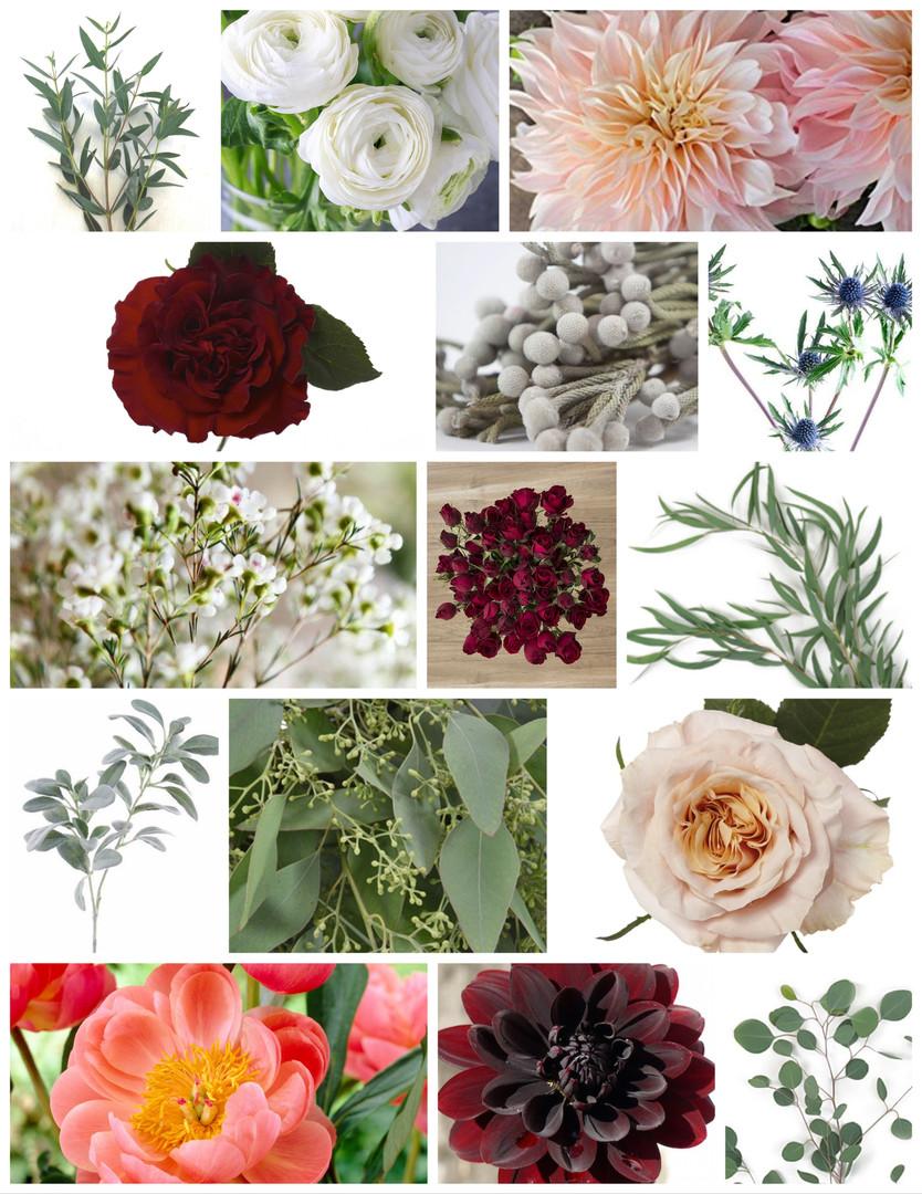 Burgundy and Peach Wedding Flowers Mood Board by Jori Krenzel | Floral Designer