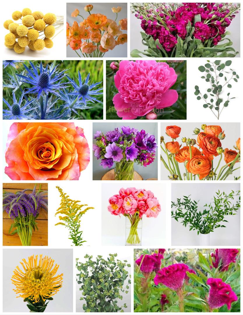 Bright Summer Colors Wedding Flowers Mood Board by Jori Krenzel | Floral Designer