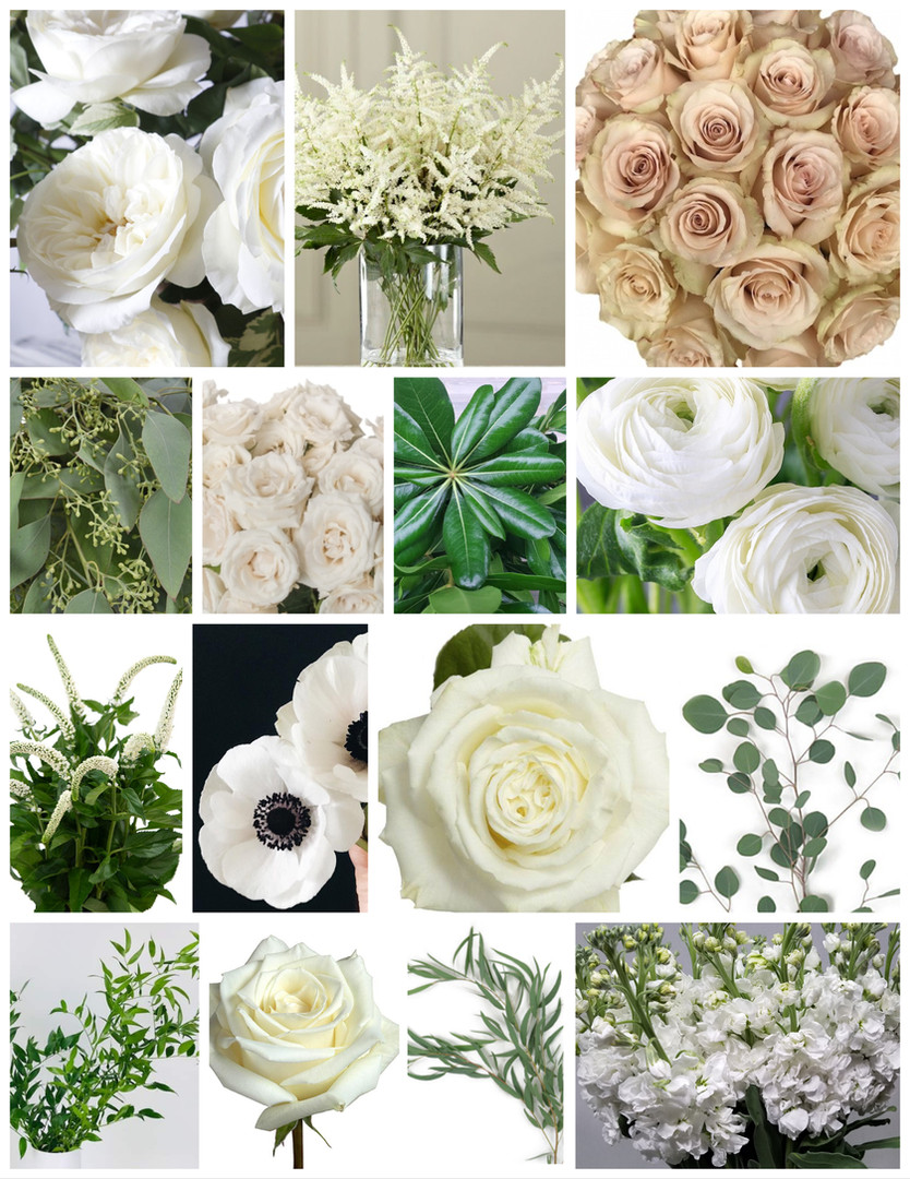 Taupe and White Wedding Flowers Mood Board by Jori Krenzel | Floral Designer