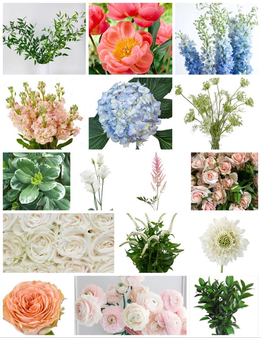 Dusty Blue and Peach Wedding Flowers Mood Board by Jori Krenzel | Floral Designer
