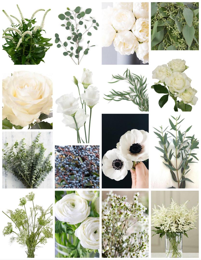 White and Navy Wedding Flowers Mood Board by Jori Krenzel | Floral Designer