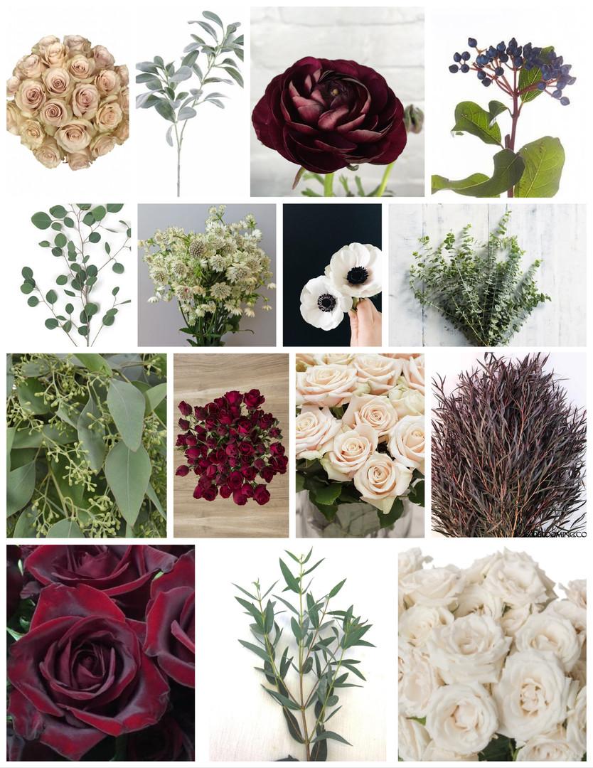 Burgundy and Cream Wedding Flowers Mood Board by Jori Krenzel | Floral Designer