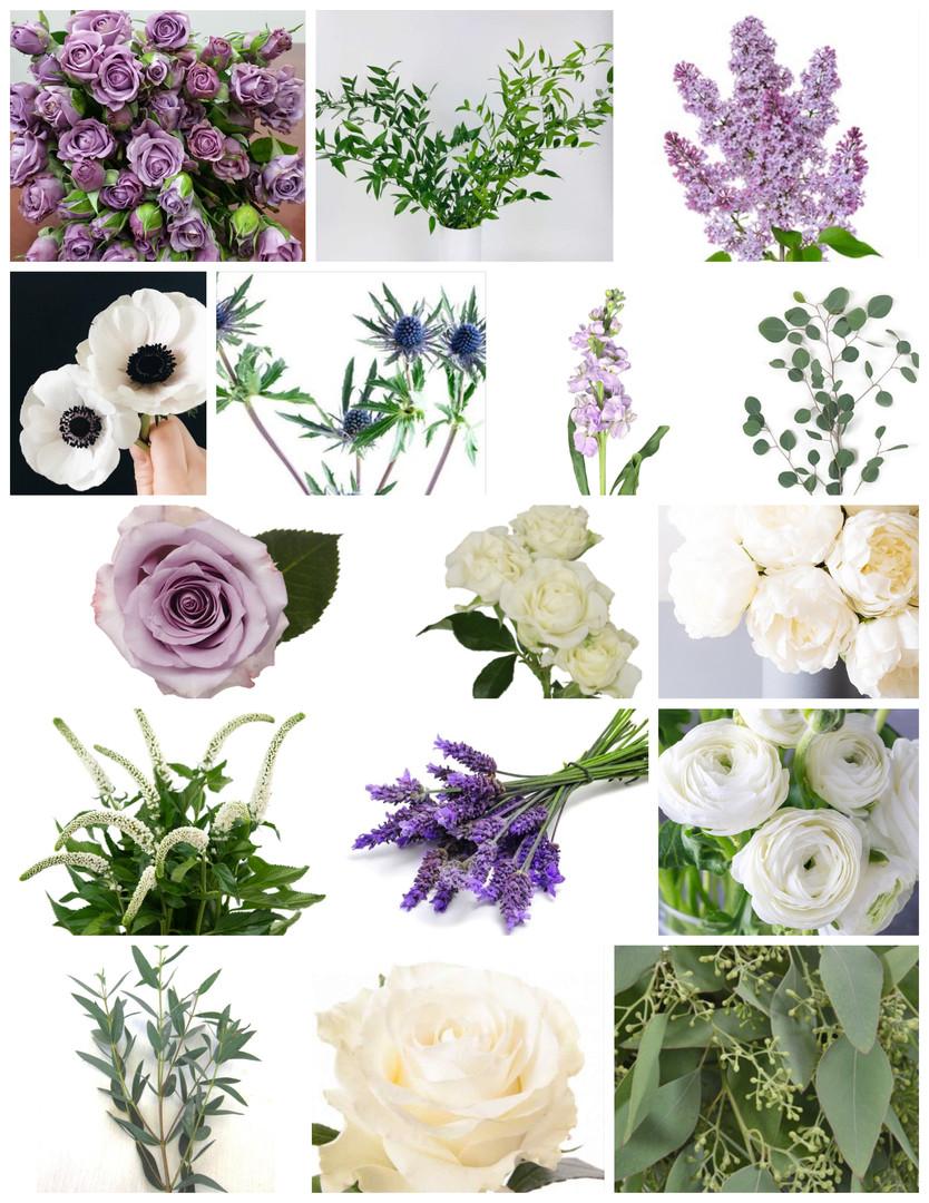 Lavender and White Wedding Flowers Mood Board by Jori Krenzel | Floral Designer