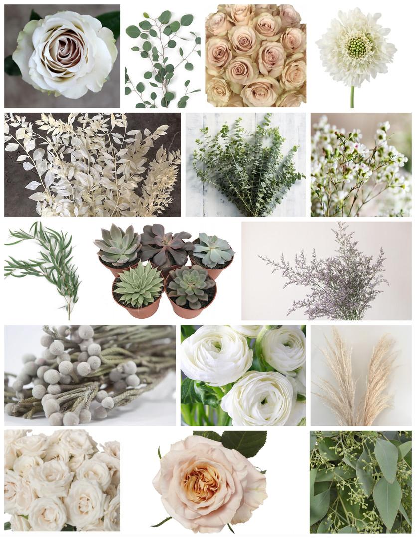 Neutral Palette Wedding Flowers Mood Board by Jori Krenzel | Floral Designer