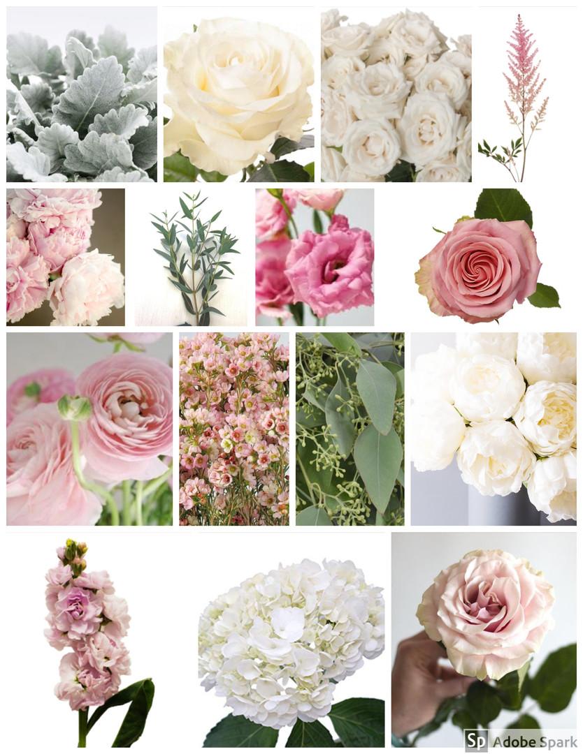 Pink and Cream Wedding Flowers Mood Board by Jori Krenzel | Floral Designer