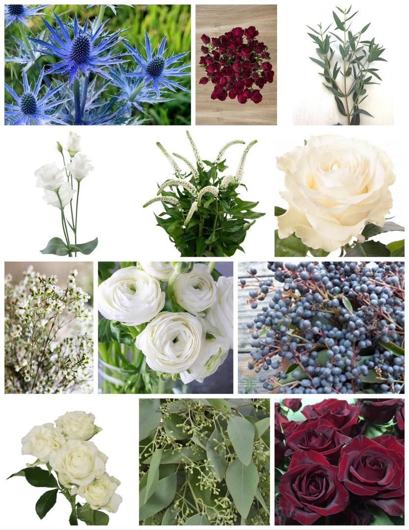 Burgundy, Navy, and White Wedding Flowers Mood Board by Jori Krenzel | Floral Designer