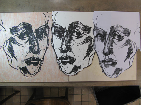 """""""On perception"""", drawing, test print & wood block (f.r.t.l.)"""