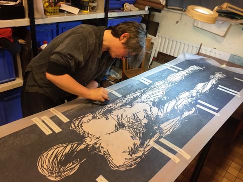 "Hand printing of ""Blue Print: Canvas"""