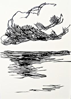 Clouds III, relief print