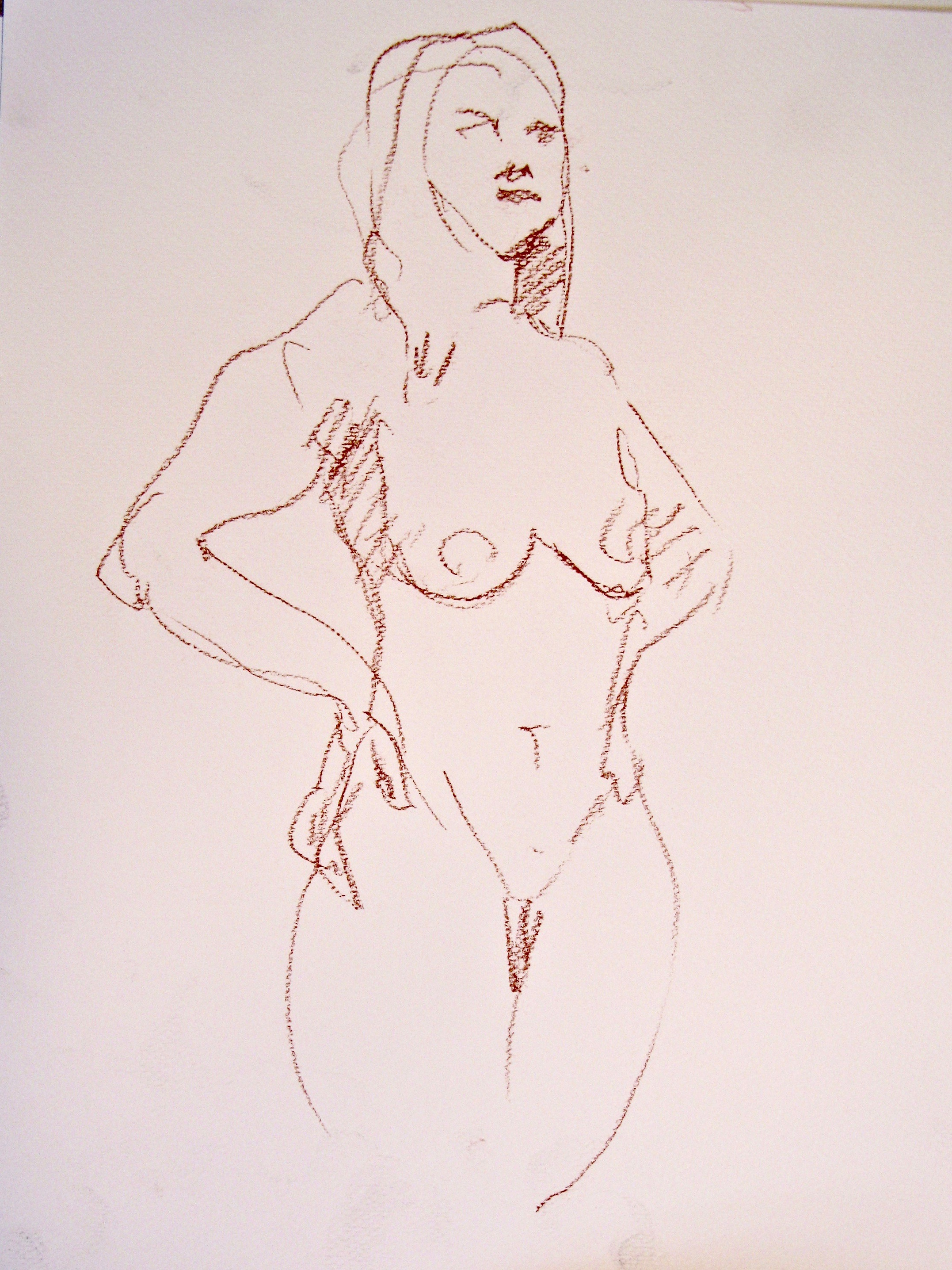 Quick gesture sketch, standing woman