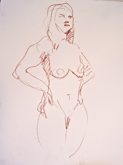 Quick gesture sketch, standing woman