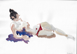 Life drawing, aquarelle