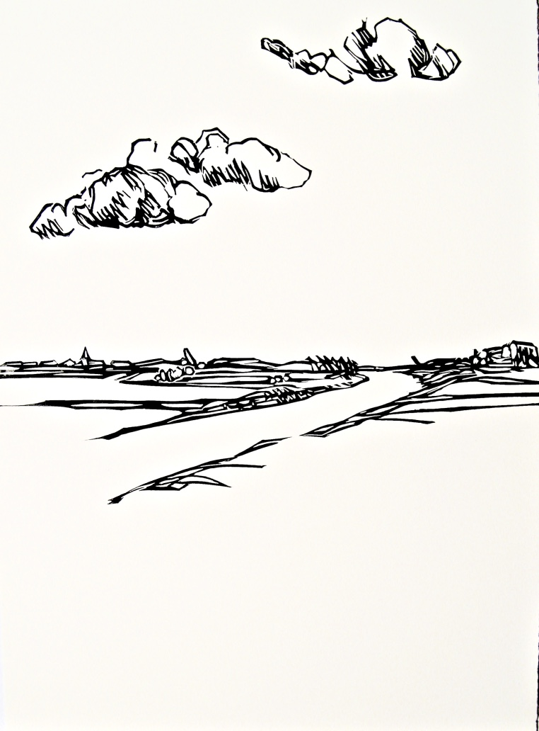 Clouds II, relief print