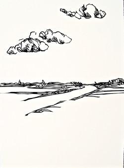 Clouds II, relief print