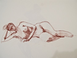 Woman lying on her side