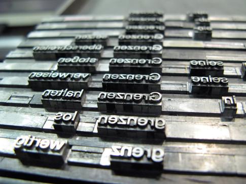"Typo for ""G Grenzen "" printed at Kulturhuef"
