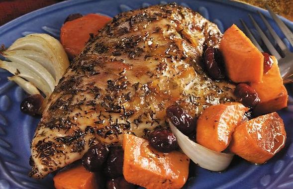 Orange-Glazed Roast Chicken & Sweet Potatoes
