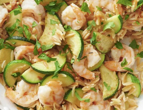 Lemon-Garlic Shrimp Orzo Skillet