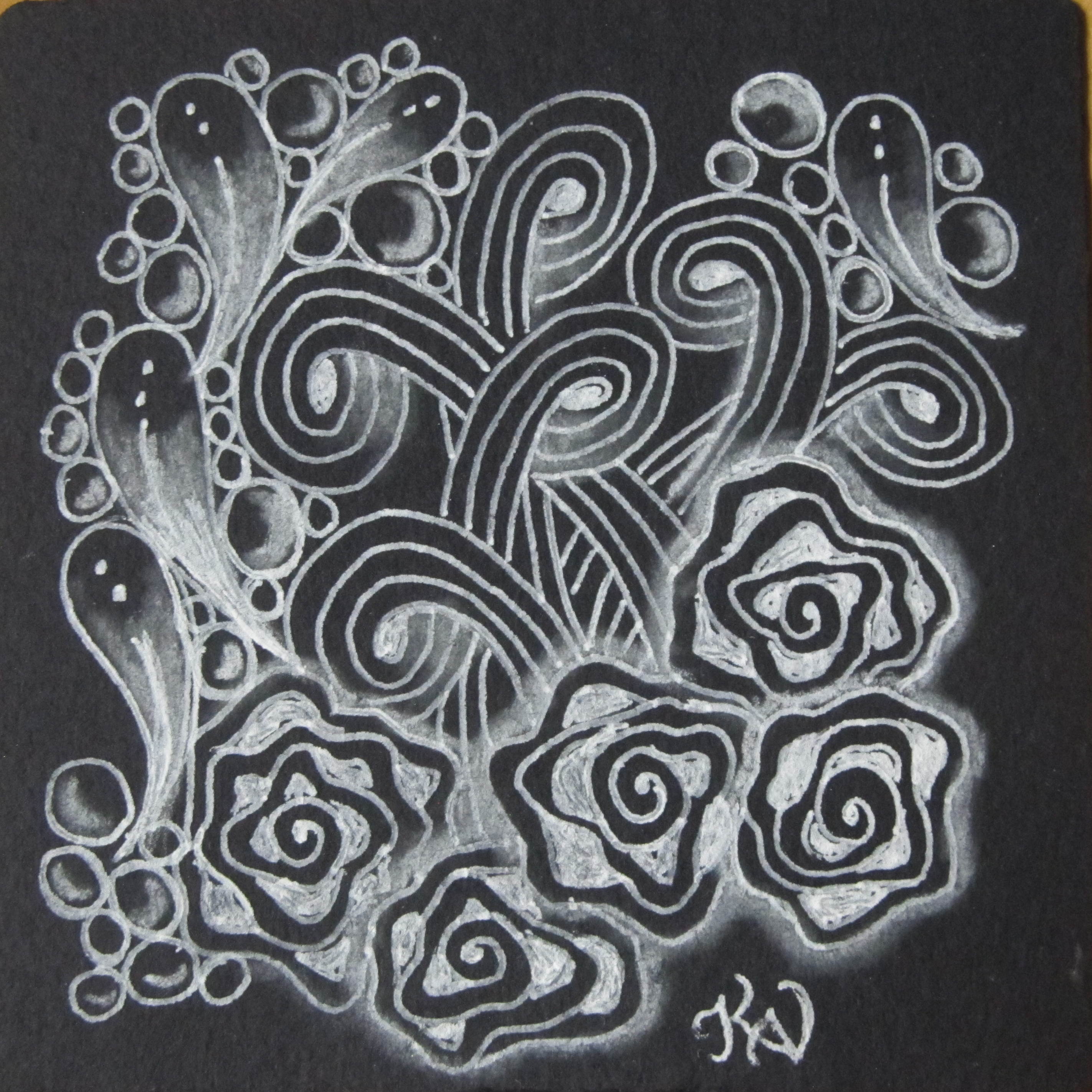 Black tile with white gel pen & char