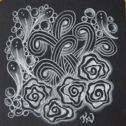 Black tile with white gel pen & char