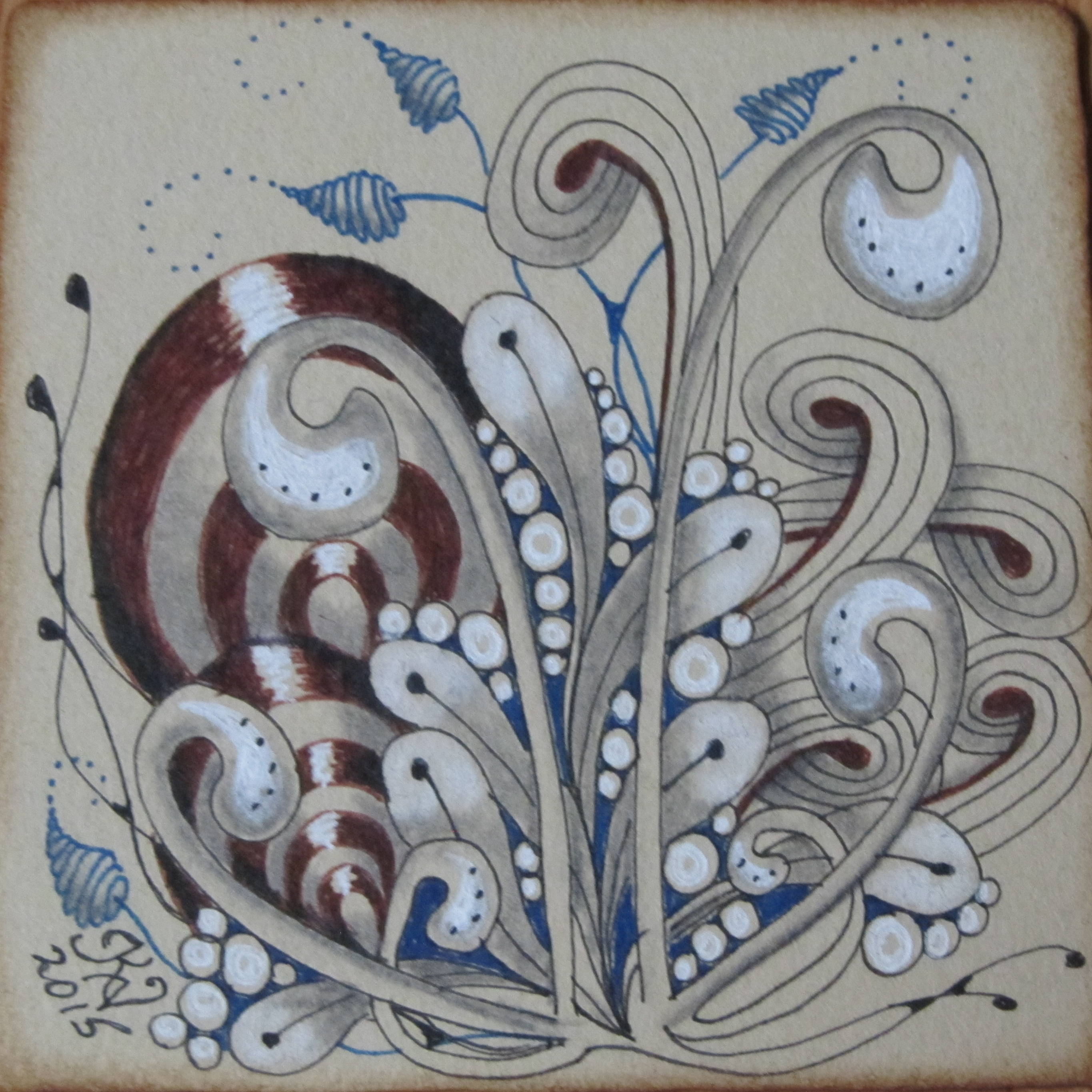 Renaissance Tan tile with blue