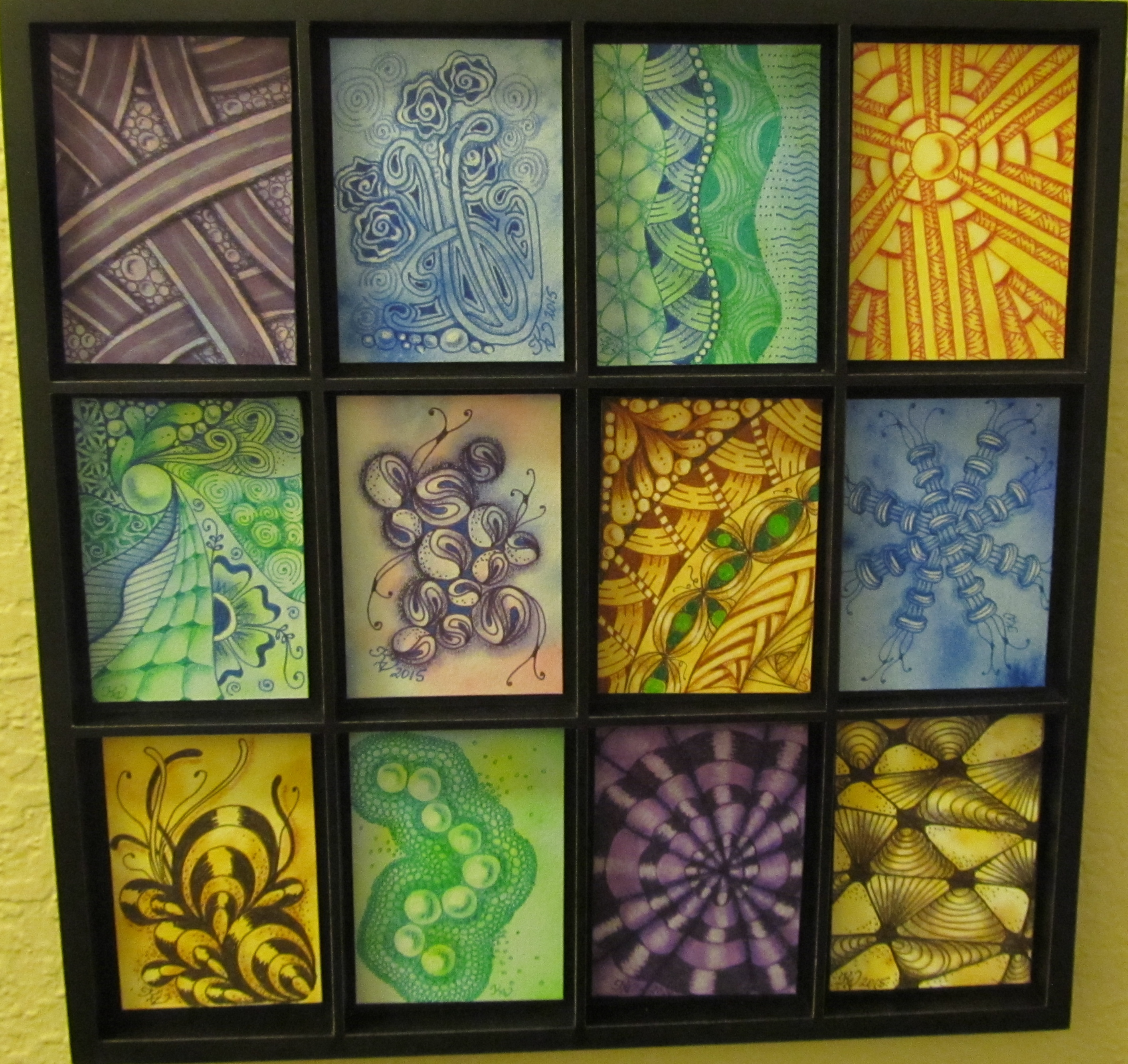 Collage of watercolor tiles