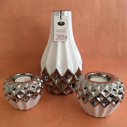 Set Vase mit Teelichtern