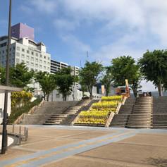 Go up staircase near the bus terminal